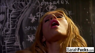 Blonde hottie Sara Jessie masturbates in a jail cell