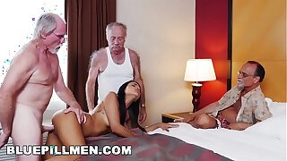 BLUE PILL MEN - Geriatric Friends Having Loads Of Fun With Sexy Latina Nikki Kay