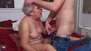 Grandma takes young cock
