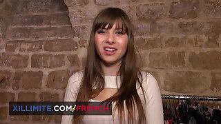 Cute French shoe sales girl Luna Rival has anal fun
