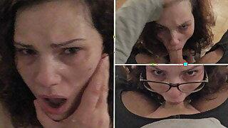 Amateur slut goes on her knees for a sloppy POV deepthroat