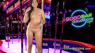 Thai woman auditions for gogo bar dancing job