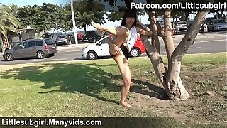 Super Daring Asian Fucking Her Ass in Public & Get Busted!