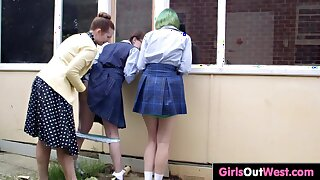 Hairy schoolgirls have sex with headmistress
