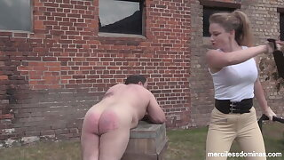 Stableman Punishment - Merciless Paddling by Mistress Inka