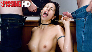 Satine Phoenix gets off while being covered in piss