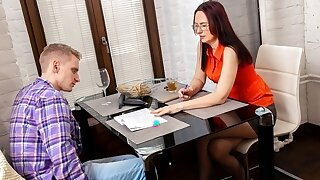TUTOR4K. Young man makes it with educator because she looks