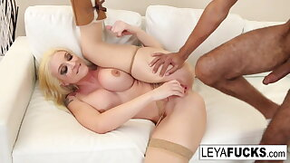 Leya squeezes cum from her pussy into guys mouth