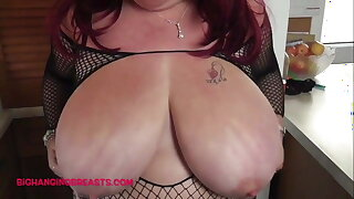 Huge British hanging tits in fishnet
